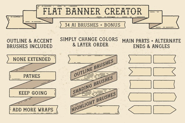 Flat Banner Creator for Illustrator example image 1