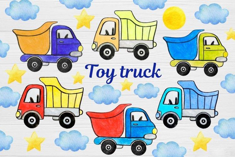dump truck clipart PNG, Watercolor clipart