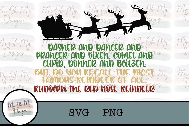 Santas Reindeer, Rudolph the red nose reindeer - SVG/PNG example image 1