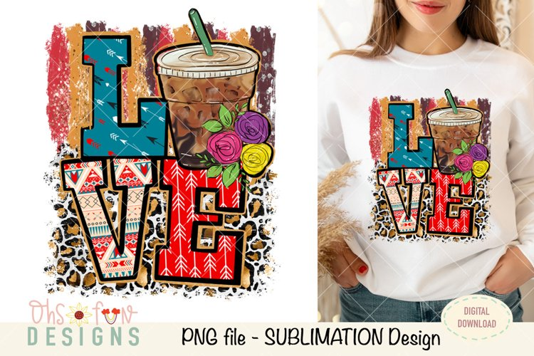 Love coffee| aztec | animal print | sublimation example image 1