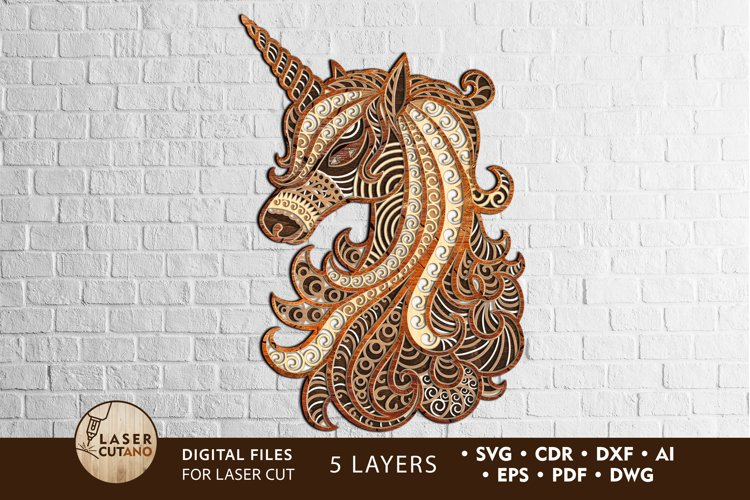 Multilayer Cut File UNICORN for Cricut or Wood Laser Cutting example image 1