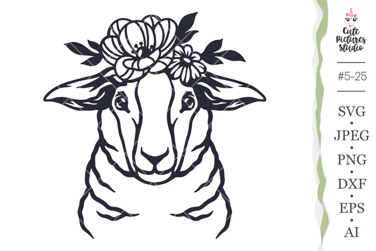 Sheep in a flower crown Cricut svg cut file, Lamb Cricut SVG