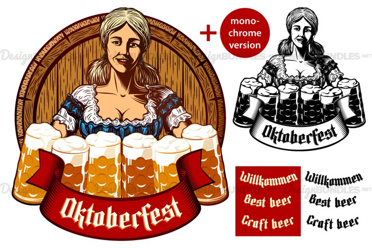Vector Bavarian Oktoberfest Girl Waitress Beer Glass Foam