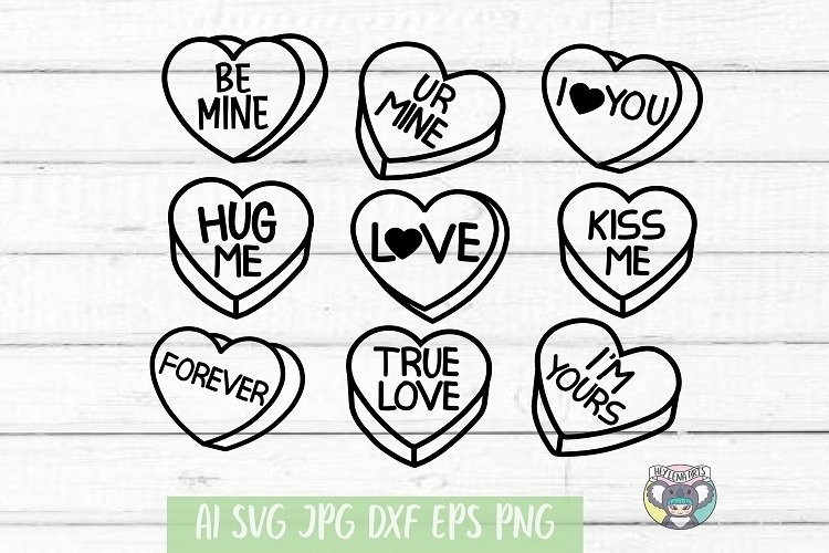 Valentines Day svg, Candy Hearts svg, Conversation Hearts