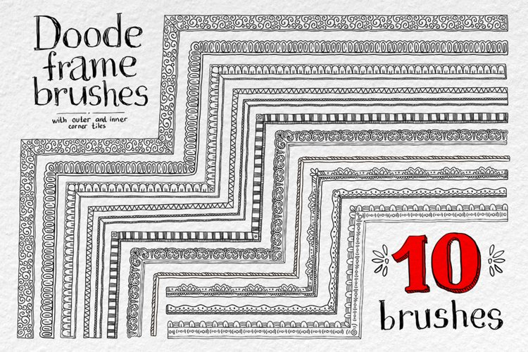 Doodle vector frame brushes example image 1