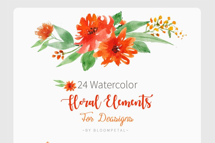 24 Watercolor Floral elements for Events Designs