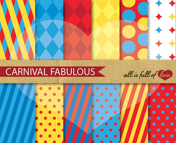 Circus Digital Paper Yellow Red and Blue Scrapbook Background Patterns example image 1