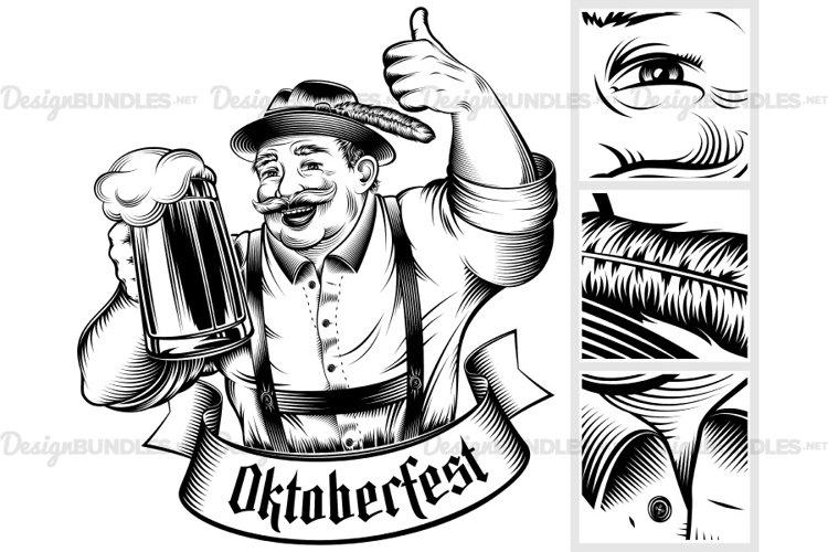 Download Vector Oktoberfest Beer Man Germany Glass Thumb Ink Barrel 26974 Illustrations Design Bundles
