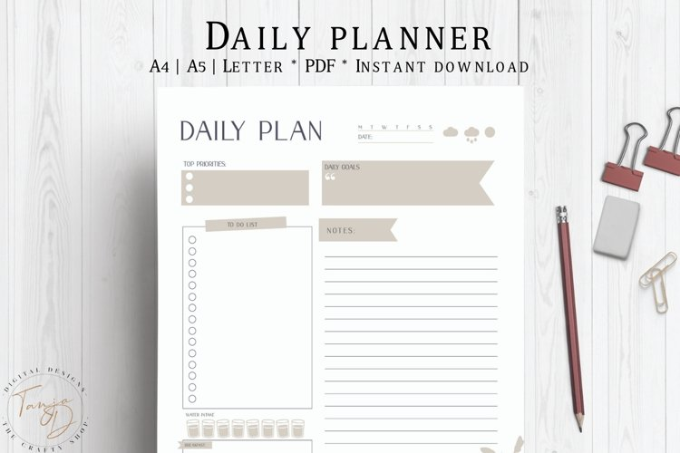 Daily Planner, Daily To Do List, Daily Schedule, Planner