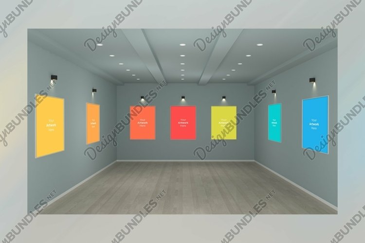 Art Gallery Frames Mockup with spot lights example image 1