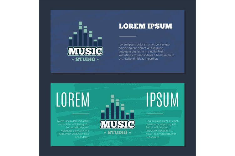 Vector vintage flyers with music sound record studio logo, b example image 1