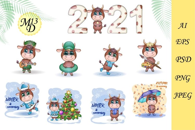 18 different cute bulls for the new year 2021, a symbol 2021 example image 1