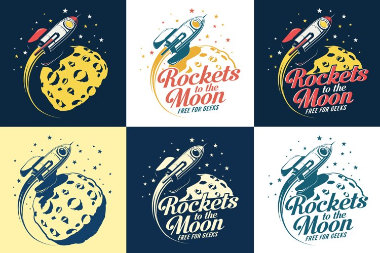 Rocket And Moon Retro Print example image 1