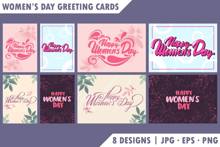 Collection of Womens Day greeting cards.