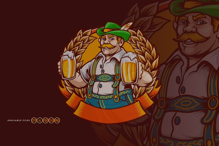 Beer Farmers Happy Wheat Frame SVG Illustrations example image 1