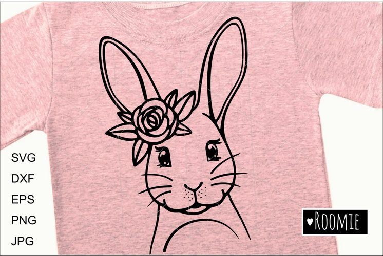 Happy Easter bunny SVG, Rabbit face with flower crown Cricut example image 1