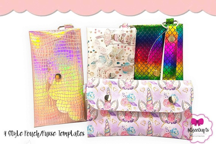 4 Style Pouch Template, Sew or No Sew Clutch, Mask Holder example image 1