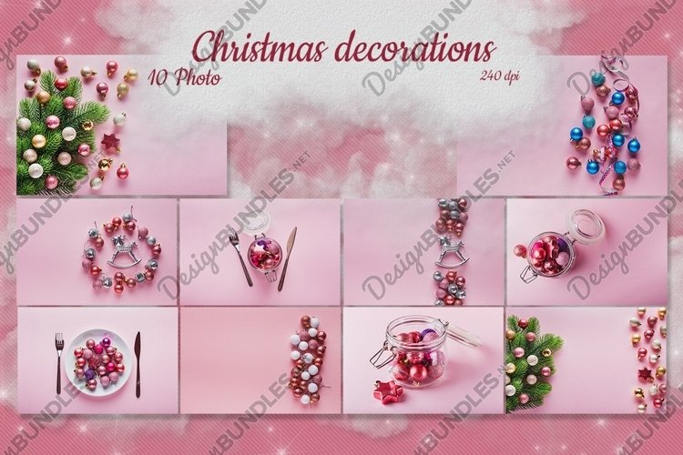 Set of 6 pictures of Christmas Decorations on pink