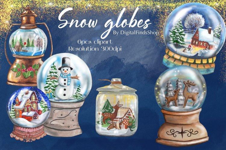 Snow globe clipart, snow balls clip art, Christmas balls