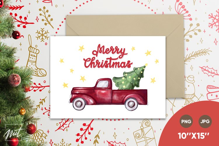Christmas card - red truck and Merry Christmas. Xmas card example image 1