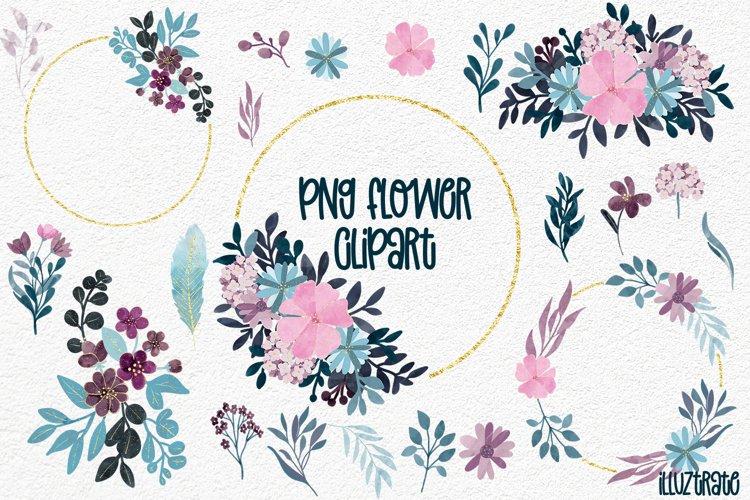 Floral Wreath Clipart   Flower Bouquet Clipart   Pink   Navy