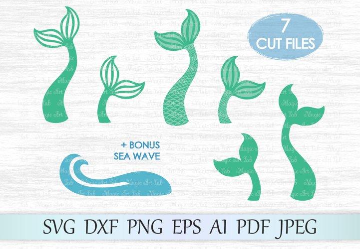 Mermaid tail svg file, Mermaid svg, Sea wave svg file, Mermaid shells svg, Fish tail cut file, Mermaid t shirt design, Mermaid cut, Ocean example image 1