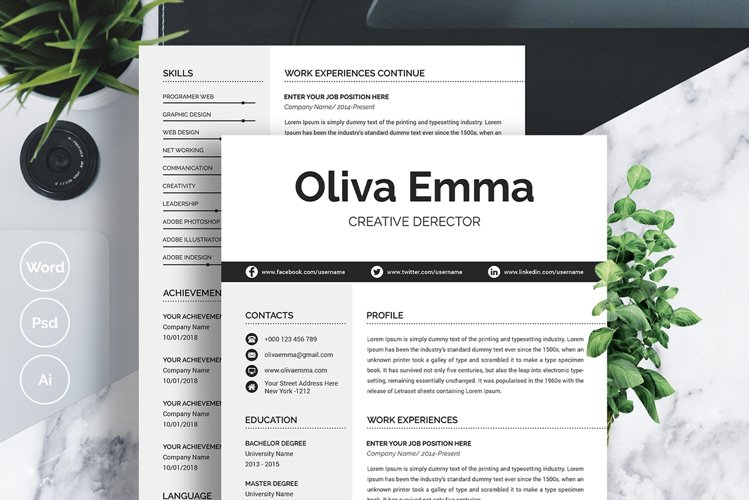 2 Pages Resume Template Word example image 1