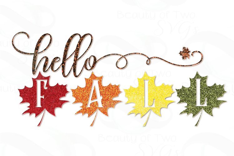 Hello Fall Leaves Glitter Sublimation Design png 300 dpi example image 1