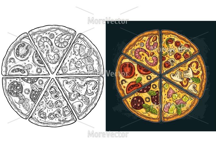 Set slice pizza Pepperoni, Hawaiian, Margherita, Mexican, Seafood, Capricciosa example image 1