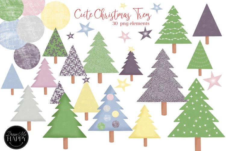 Christmas Trees Clipart, Christmas Clipart, Pastel Christmas