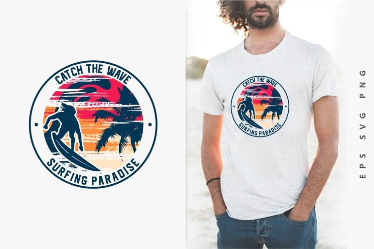 Surfing Paradise Sunset T-shirt Design Vector. eps svg png example image 1