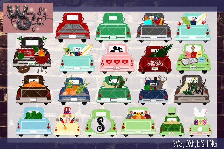 Whimsicality Vehicle Bundle SVG, DXF, PNG, EPS Commercial example image 1