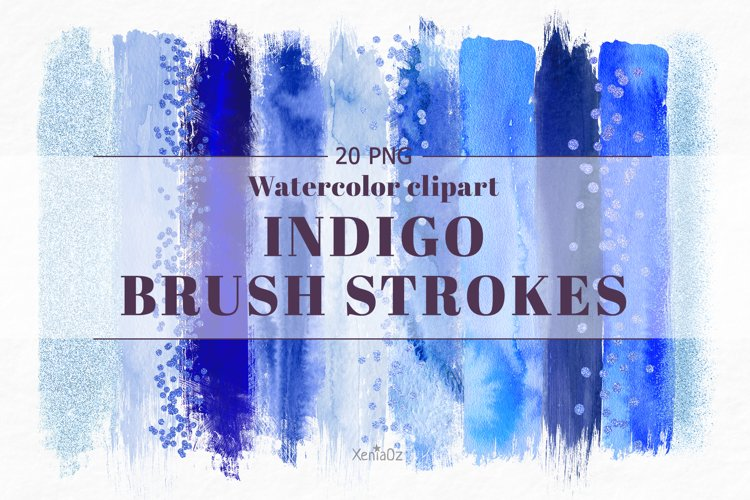 Indigo brush strokes clipart, blue watercolor PNG elements example image 1