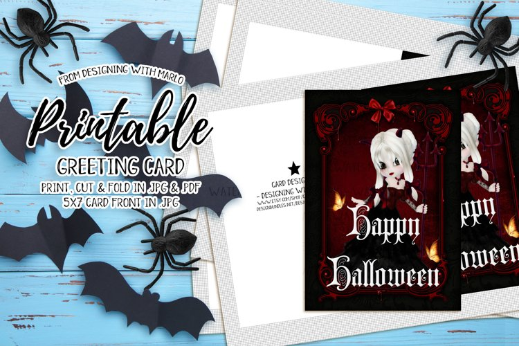 Little Blonde Devil - Printable Happy Halloween Card example image 1