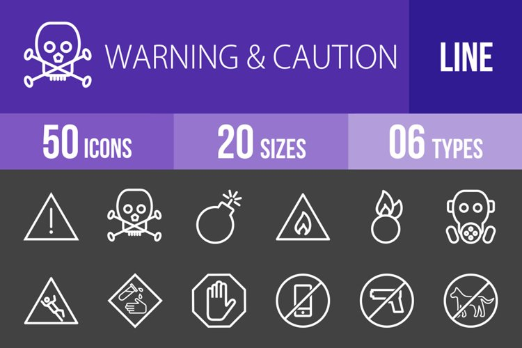 50 Warning & Caution Line Inverted Icons