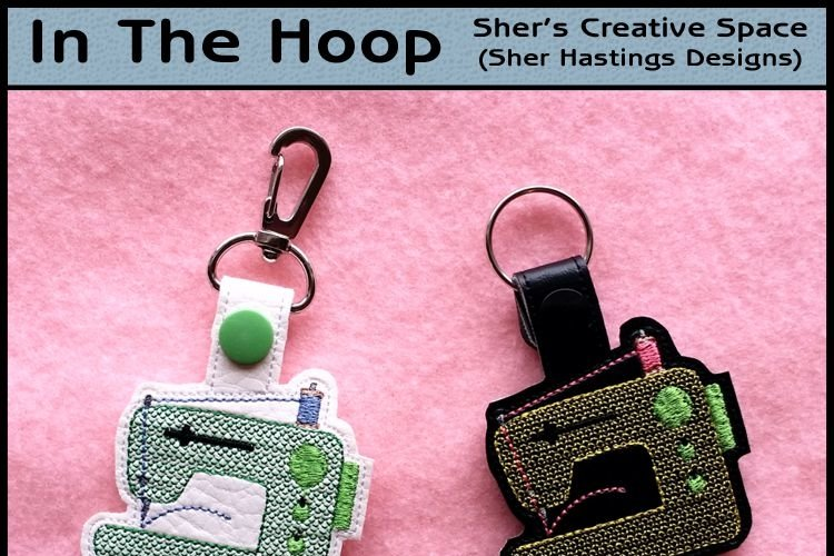 ITH Sewing Machine Vinyl Key Fob or Bag Tag - Snap Tab Machine Embroidery example image 1