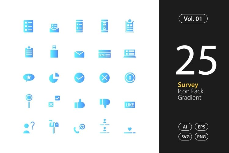 Survey Icon Gradient SVG, EPS, PNG example image 1