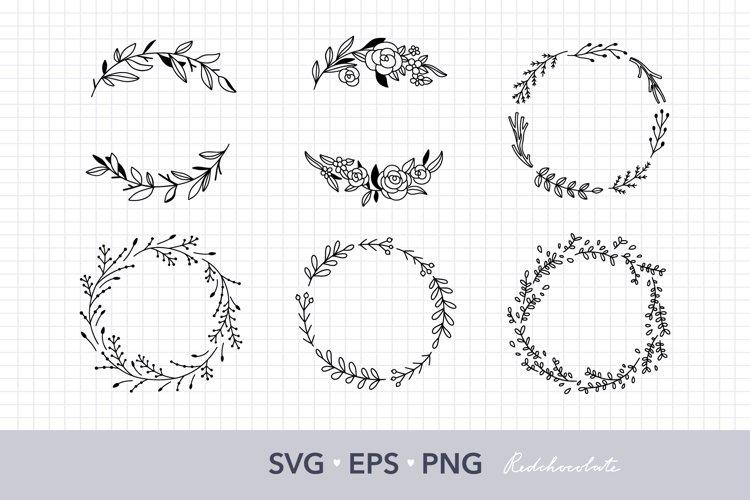 Floral wreath SVG Wreath clipart Botanical wedding clipart