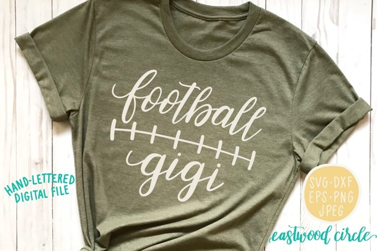 Football Gigi Hand Lettered SVG example image 1