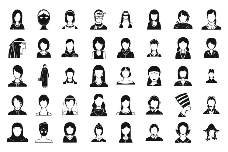 Woman silhouette icon set, simple style example image 1