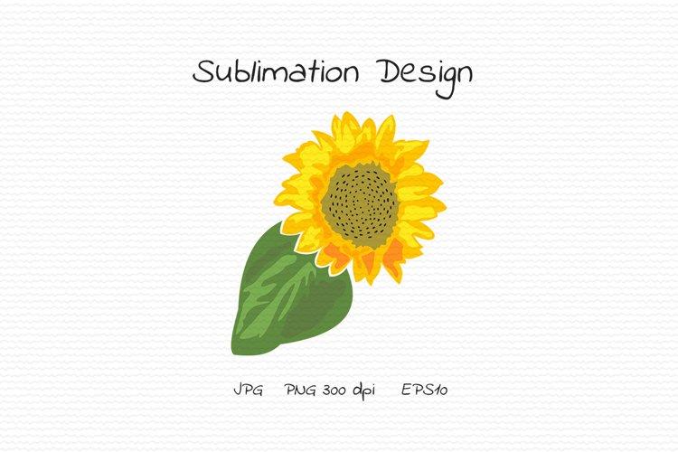Sunflower flower with large leaf - Sublimation Design