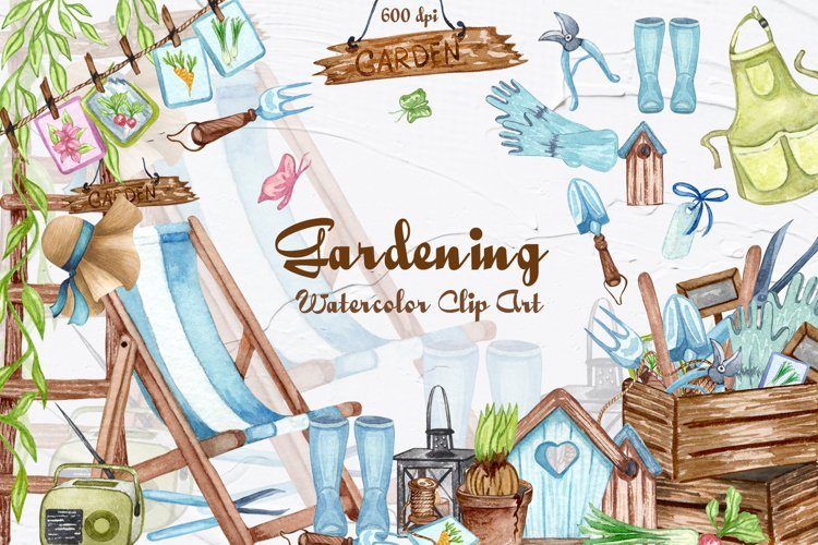 Gardening Watercolor Clipart example image 1