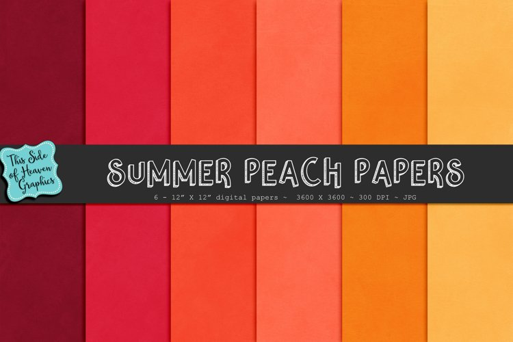 Textured Digital Scrapbook Papers - Summer Peach