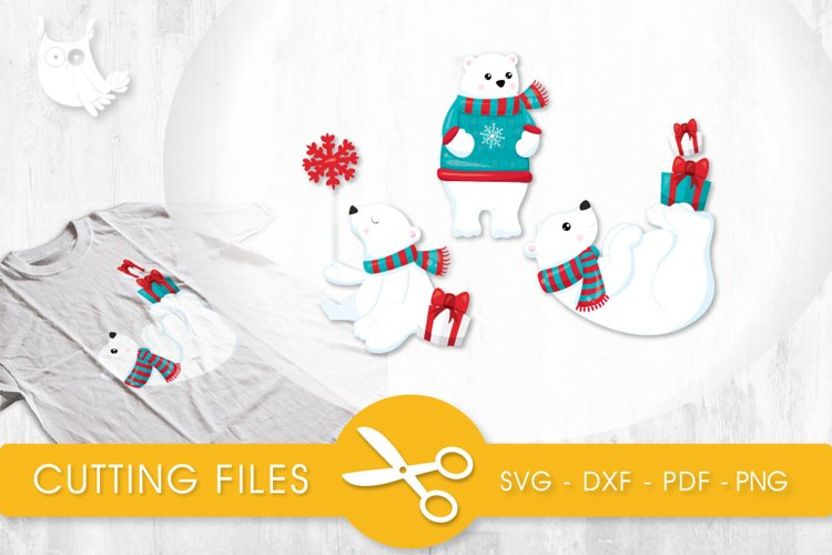 Winter Polar Bears  cutting files svg, dxf, pdf, eps included - cut files for cricut and silhouette - Cutting Files SG example image 1