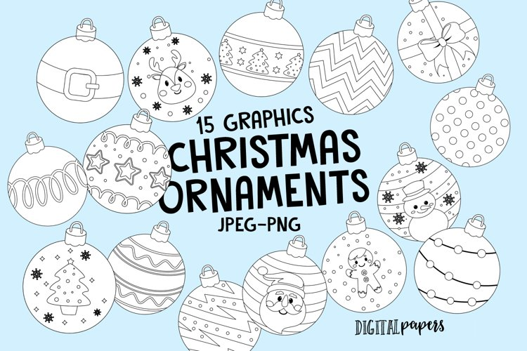 Christmas Ornaments Outlines Clipart