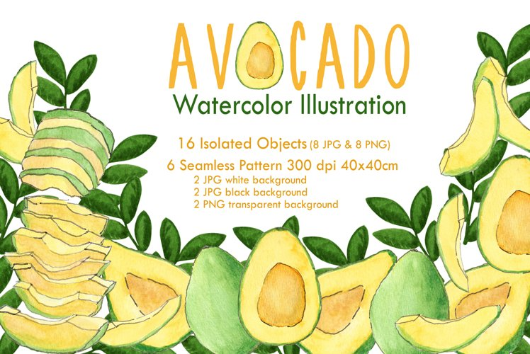 Avocado Watercolor Illustration & Seamless Pattern