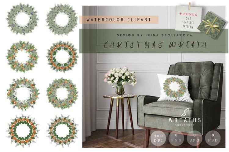 Christmas wreaths. Watercolor christmas wreath clipart