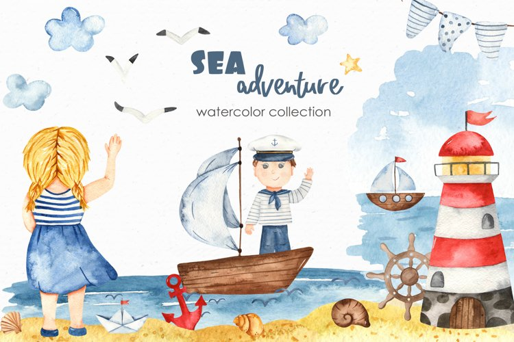Watercolor Sea adventure. Clipart, seamless patterns, cards example image 1