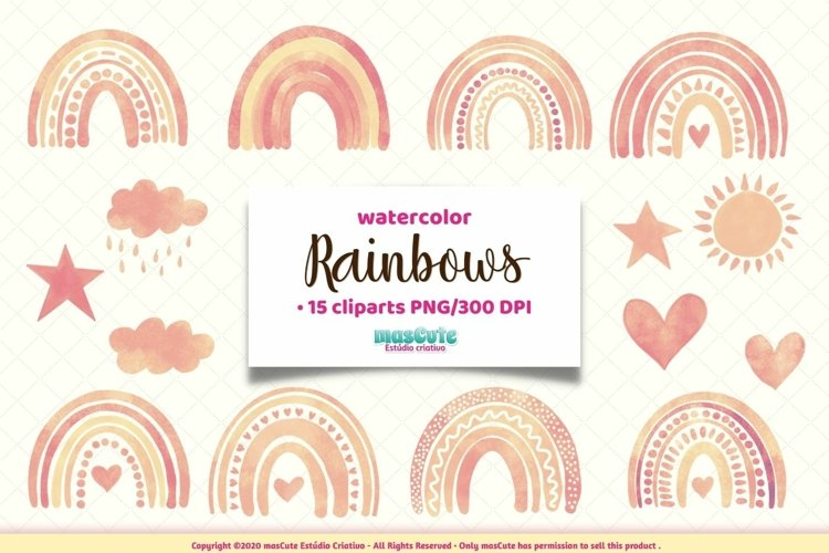 Watercolor Rainbows Clipart example image 1