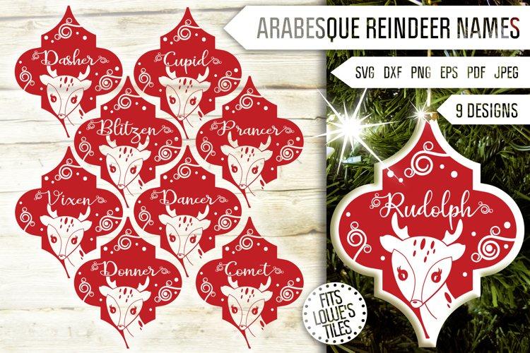 Arabesque Reindeer Names Svg Bundle. Tile Ornament Svg. example image 1